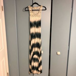 Blue and cream tie dye maxi dress with lace back